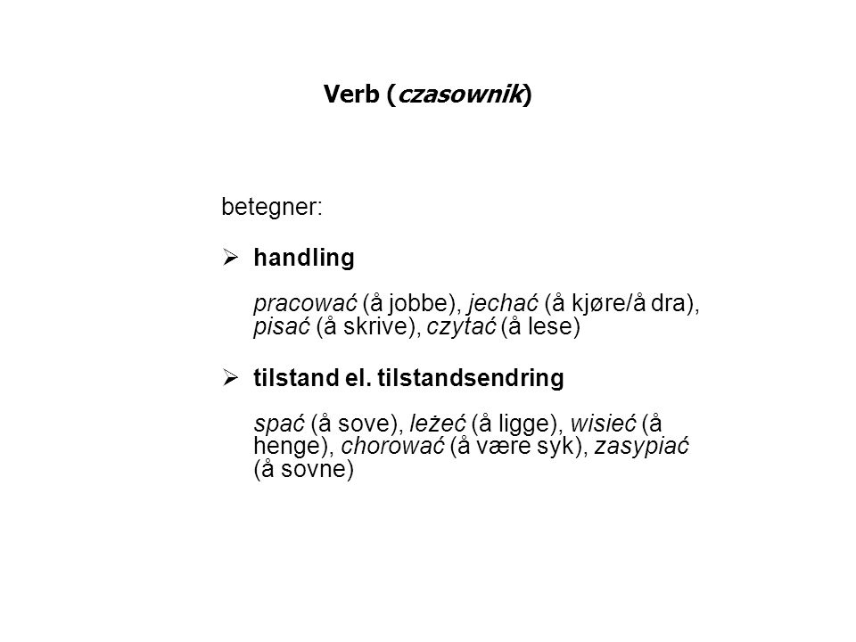 Verb (czasownik) betegner: handling pracować (å jobbe), jechać (å kjøre/å dra), pisać (å skrive), czytać (å lese)
