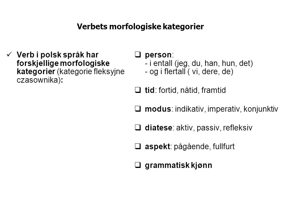 Verbets morfologiske kategorier
