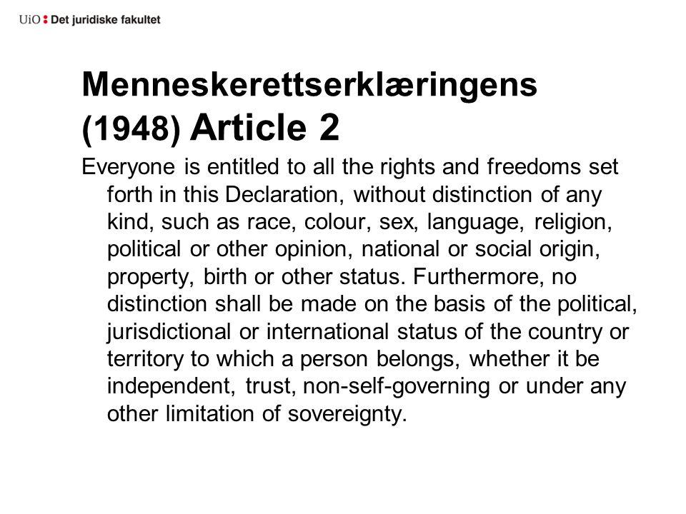 Menneskerettserklæringens (1948) Article 2