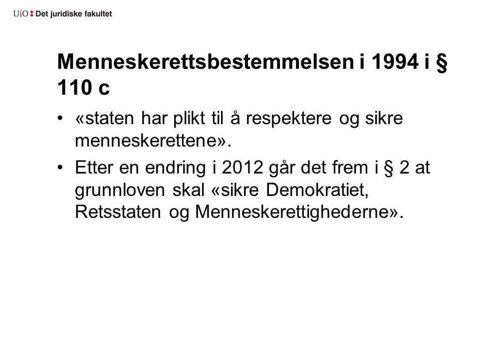 Menneskerettsbestemmelsen i 1994 i § 110 c