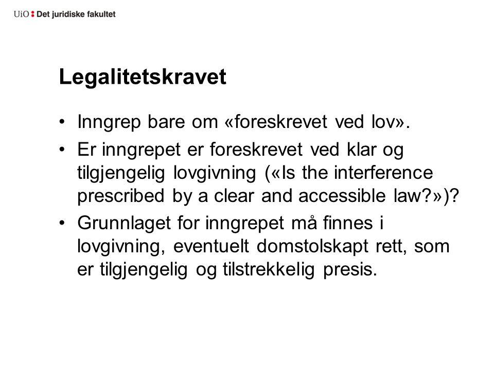 Legalitetskravet Inngrep bare om «foreskrevet ved lov».