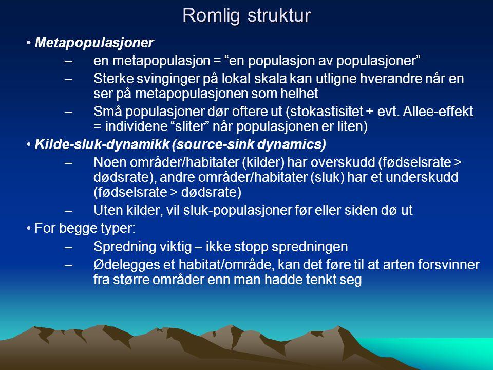 Romlig struktur Metapopulasjoner