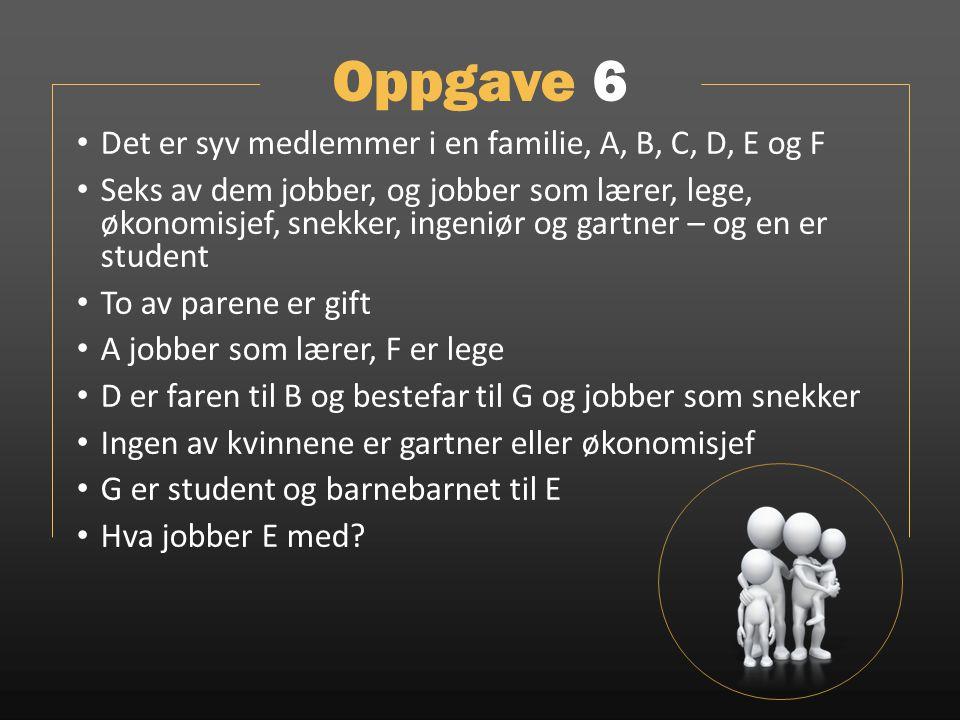 Oppgave 6 Det er syv medlemmer i en familie, A, B, C, D, E og F