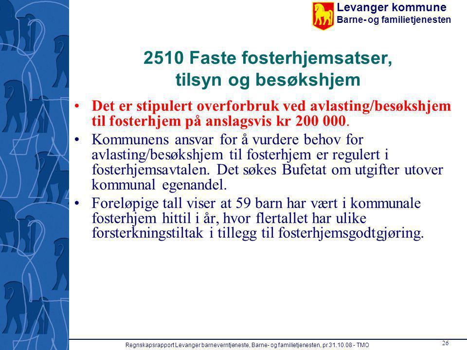 2510 Faste fosterhjemsatser, tilsyn og besøkshjem