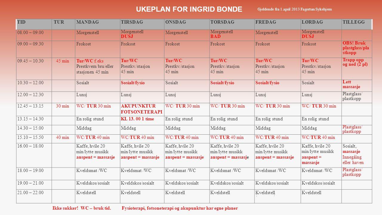 UKEPLAN FOR INGRID BONDE