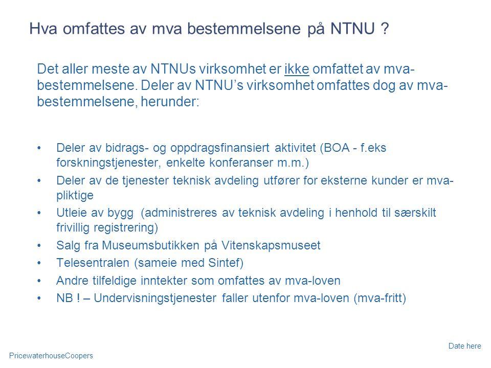 Hva omfattes av mva bestemmelsene på NTNU