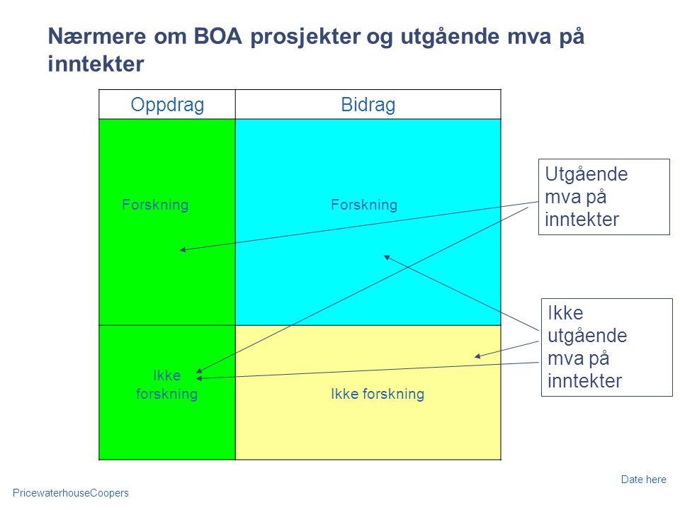 Nærmere om BOA prosjekter og utgående mva på inntekter