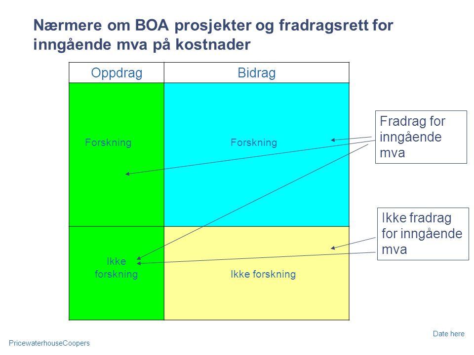 Nærmere om BOA prosjekter og fradragsrett for inngående mva på kostnader