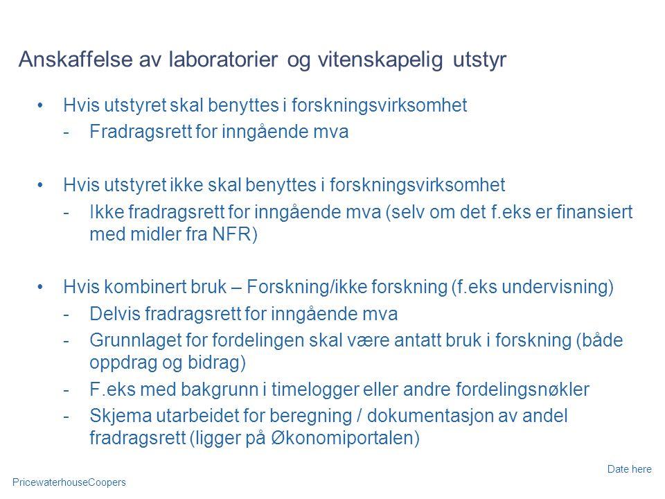 Anskaffelse av laboratorier og vitenskapelig utstyr