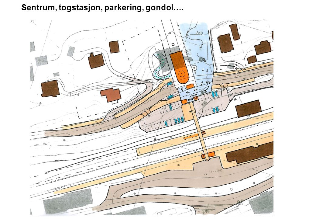 Sentrum, togstasjon, parkering, gondol….