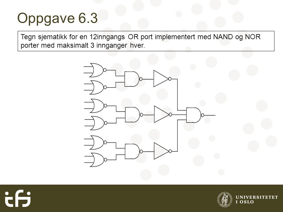 May 2004 Oppgave 6.3. Tegn sjematikk for en 12inngangs OR port implementert med NAND og NOR porter med maksimalt 3 innganger hver.