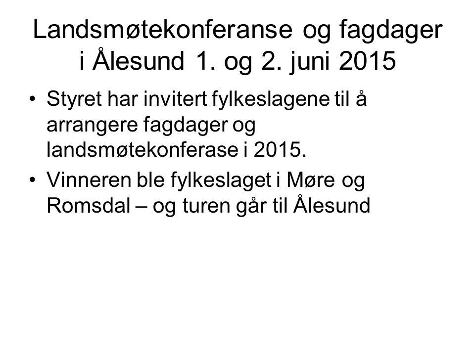 Landsmøtekonferanse og fagdager i Ålesund 1. og 2. juni 2015