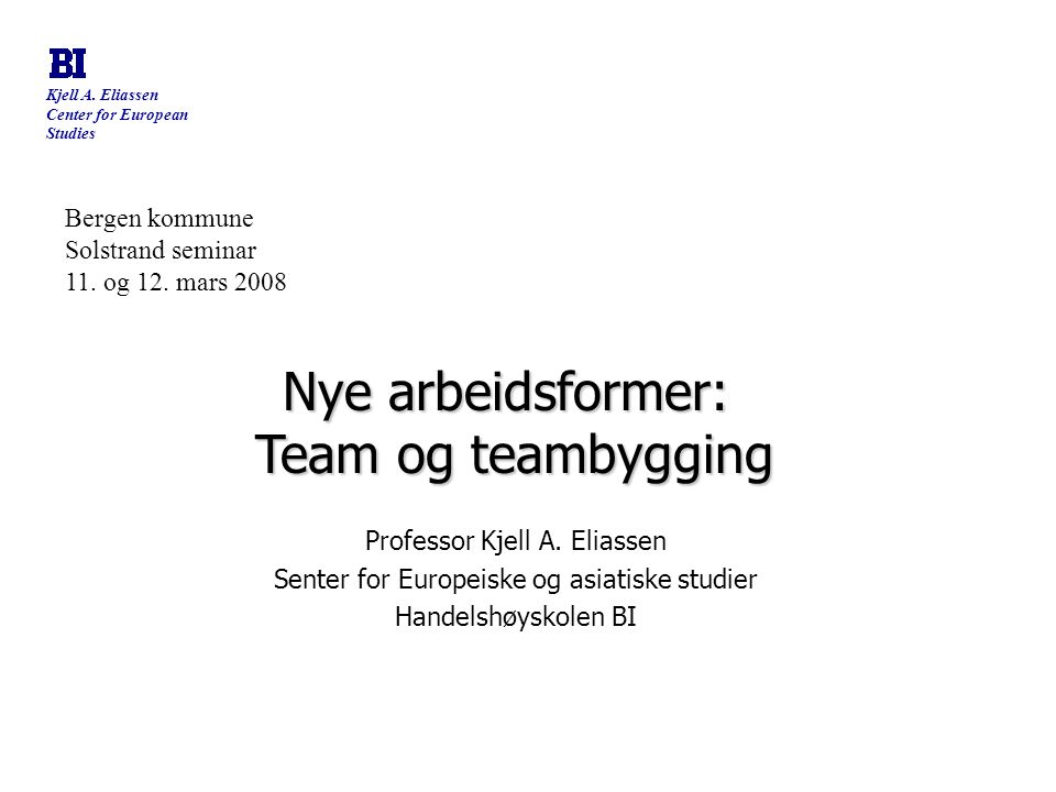 Nye arbeidsformer: Team og teambygging Bergen kommune