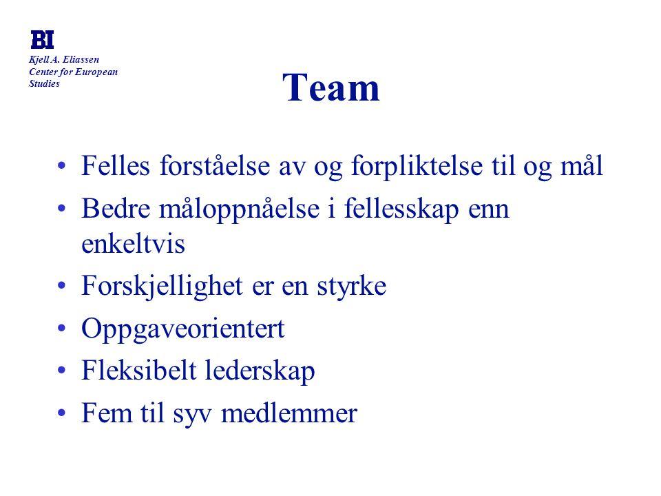 Team Felles forståelse av og forpliktelse til og mål