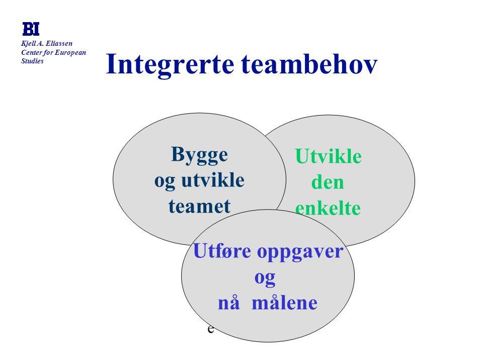 Integrerte teambehov Bygge Utvikle og utvikle den teamet enkelte