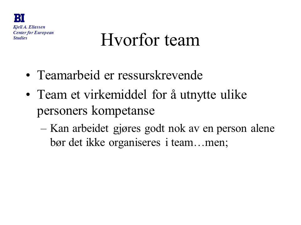 Hvorfor team Teamarbeid er ressurskrevende