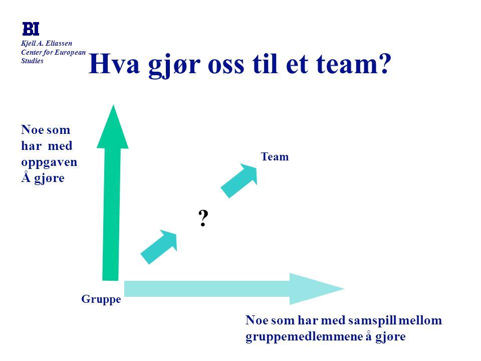 Hva gjør oss til et team Noe som har med oppgaven Å gjøre