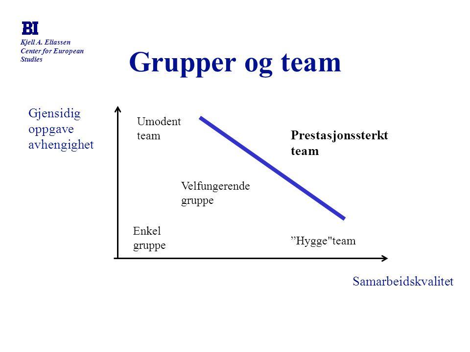 Grupper og team Gjensidig oppgave avhengighet Prestasjonssterkt team