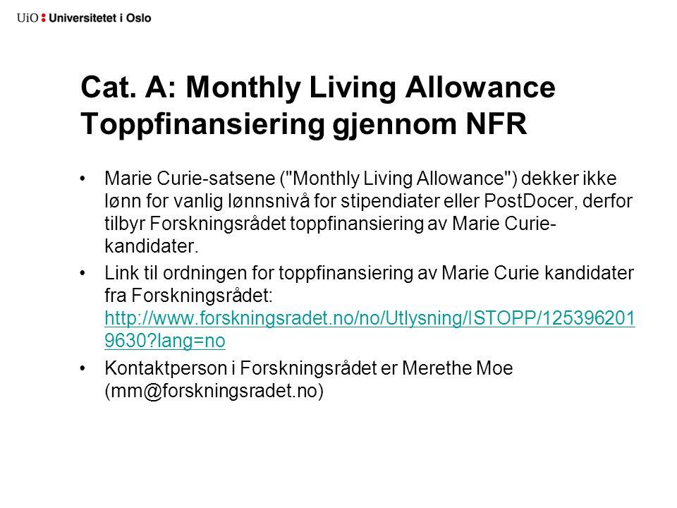 Cat. A: Monthly Living Allowance Toppfinansiering gjennom NFR