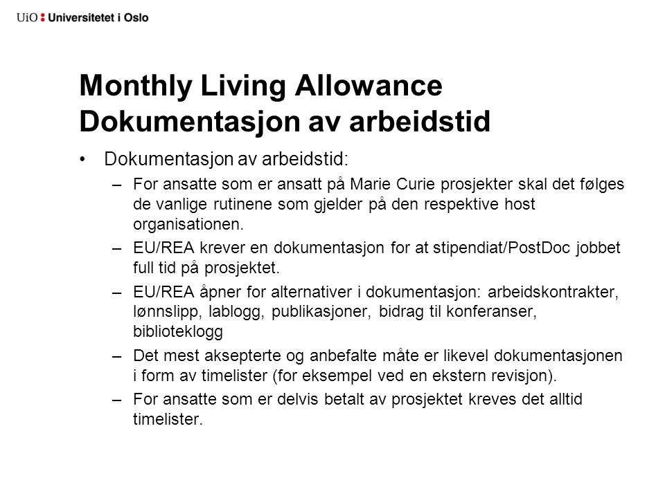 Monthly Living Allowance Dokumentasjon av arbeidstid