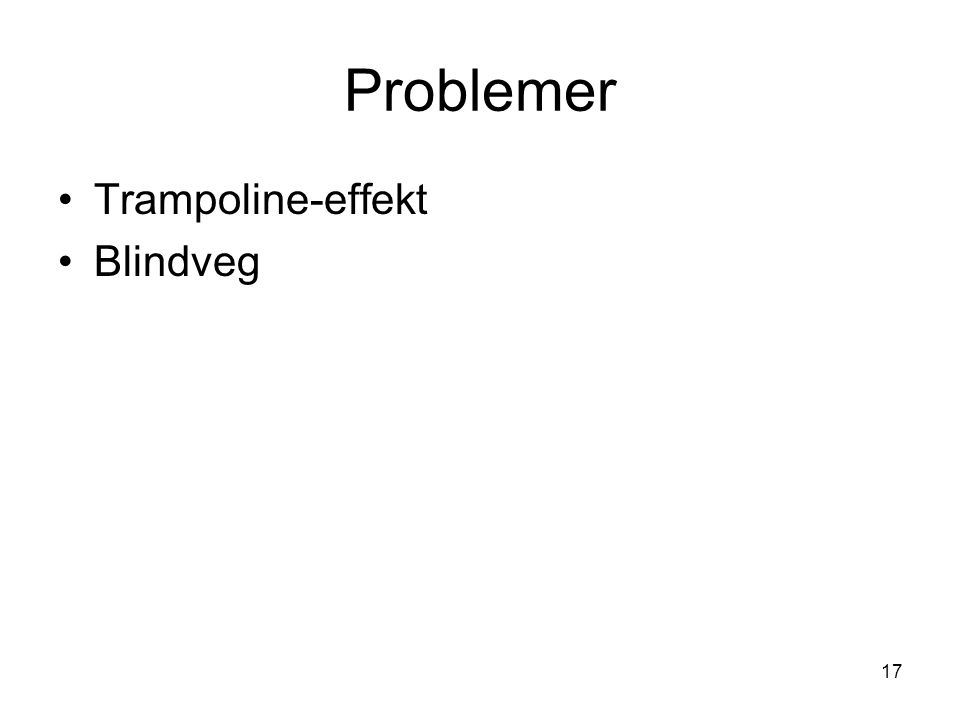 Problemer Trampoline-effekt Blindveg