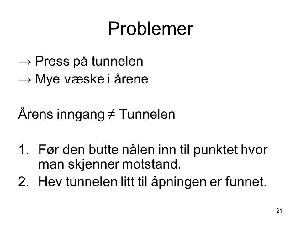 Problemer → Press på tunnelen → Mye væske i årene