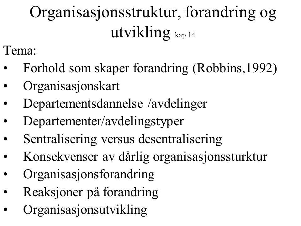 Organisasjonsstruktur, forandring og utvikling kap 14