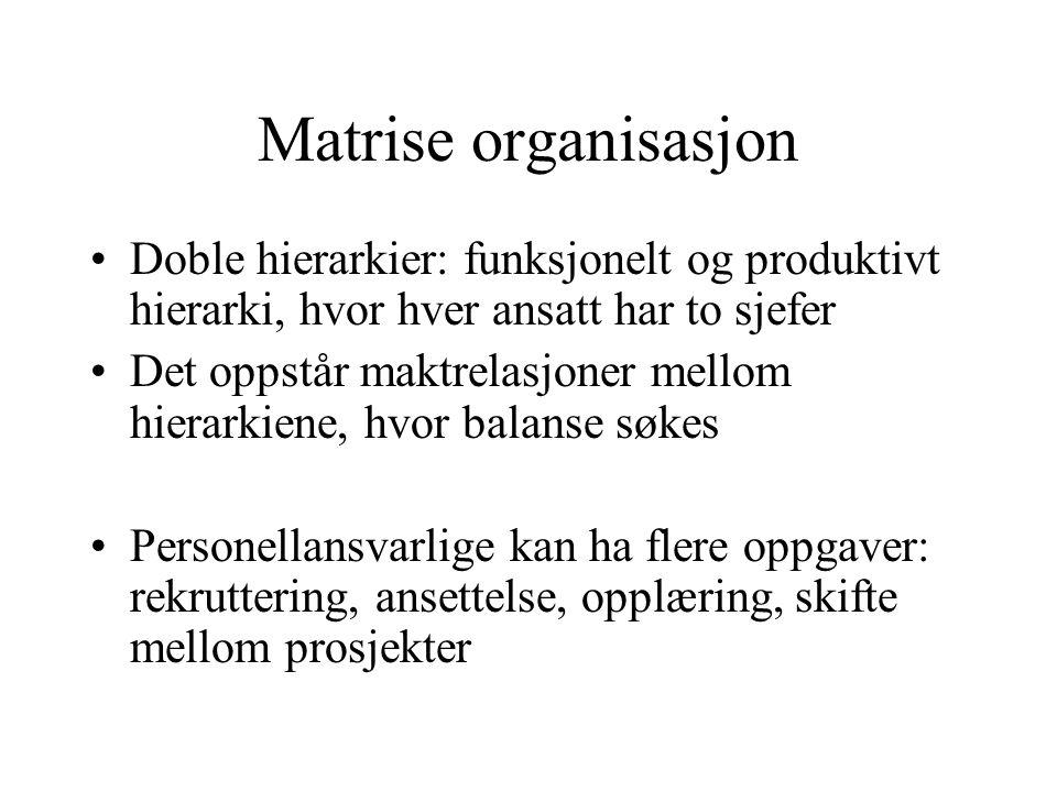 Matrise organisasjon Doble hierarkier: funksjonelt og produktivt hierarki, hvor hver ansatt har to sjefer.