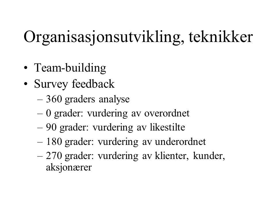 Organisasjonsutvikling, teknikker