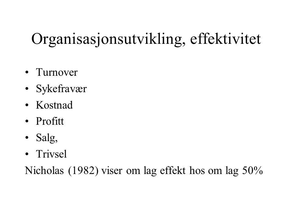 Organisasjonsutvikling, effektivitet