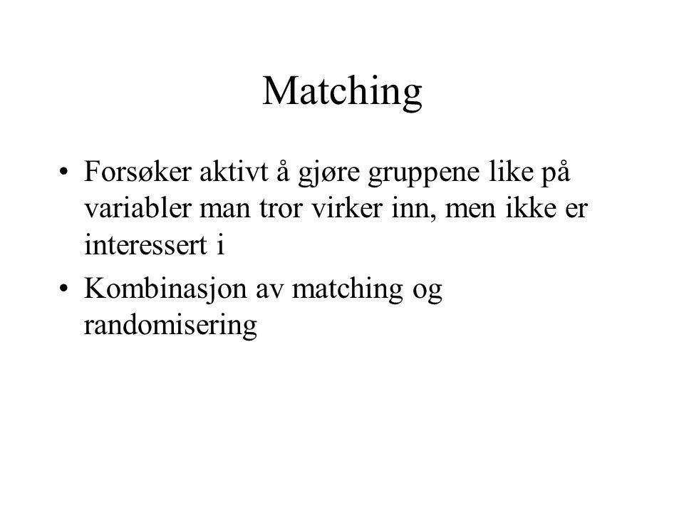 Matching Forsøker aktivt å gjøre gruppene like på variabler man tror virker inn, men ikke er interessert i.