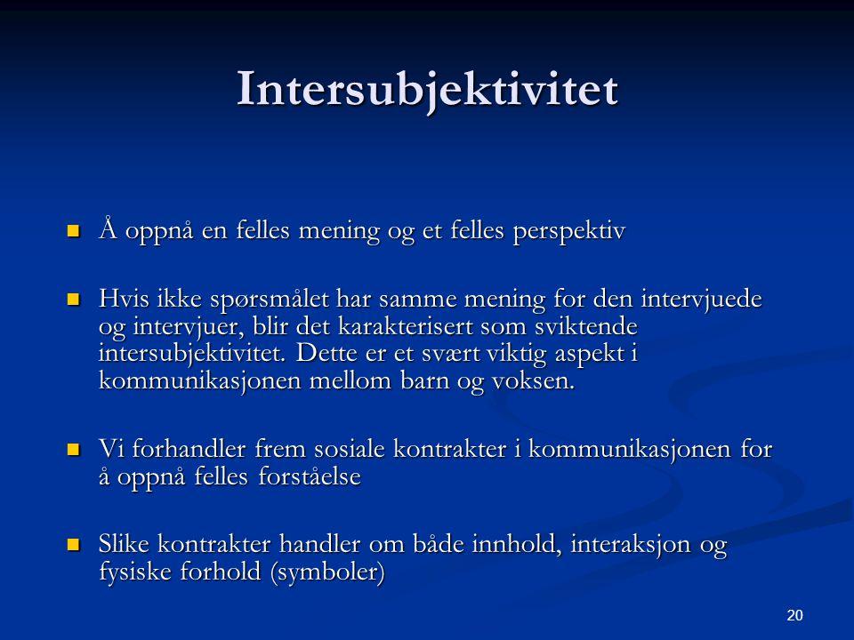 Intersubjektivitet Å oppnå en felles mening og et felles perspektiv