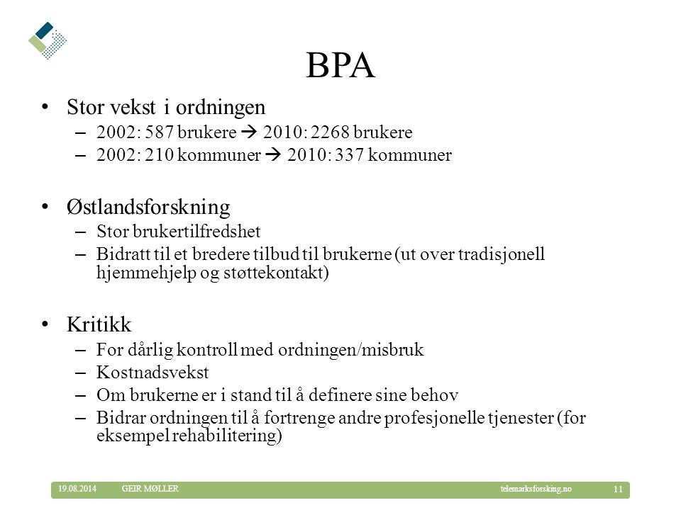 BPA Stor vekst i ordningen Østlandsforskning Kritikk
