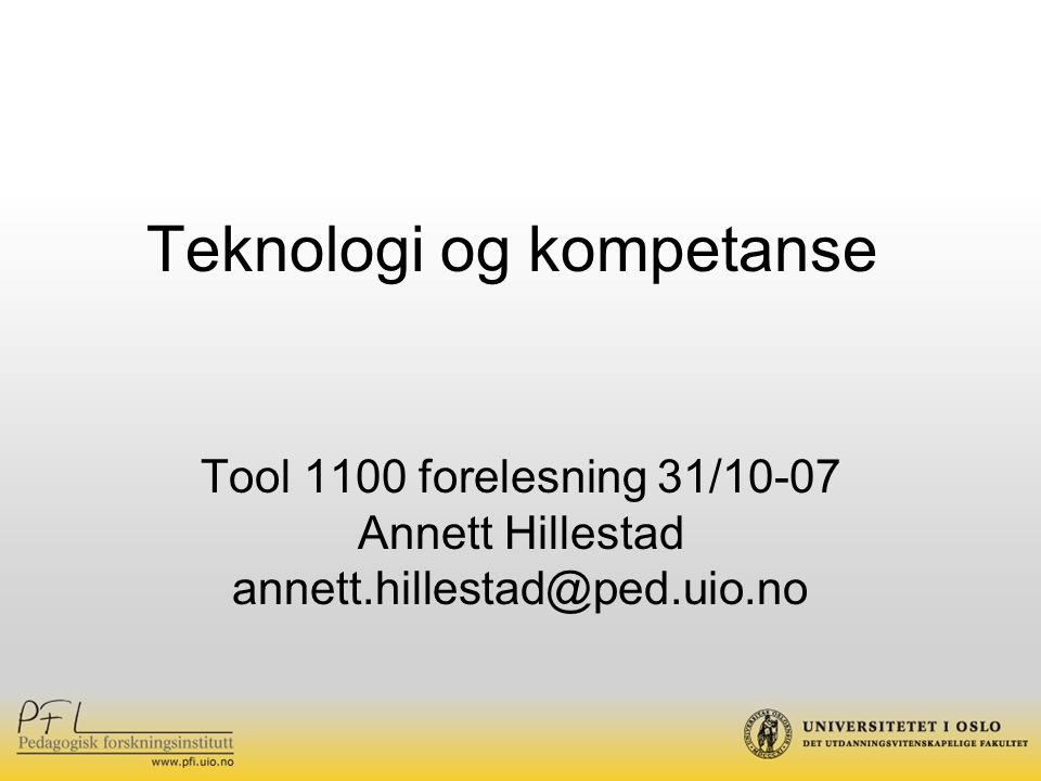 Teknologi og kompetanse