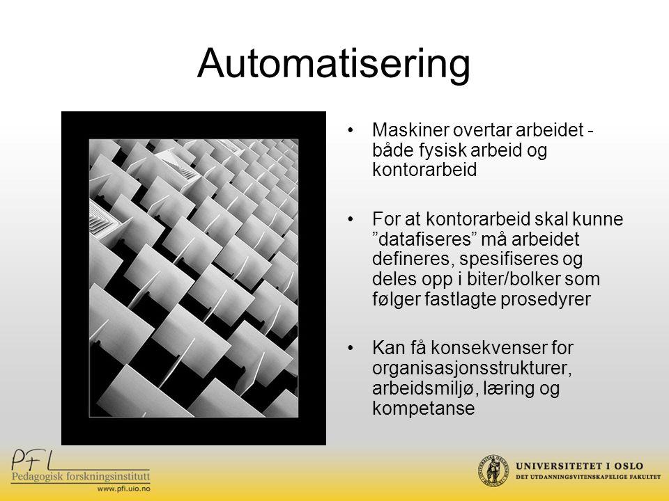 Automatisering Maskiner overtar arbeidet - både fysisk arbeid og kontorarbeid.