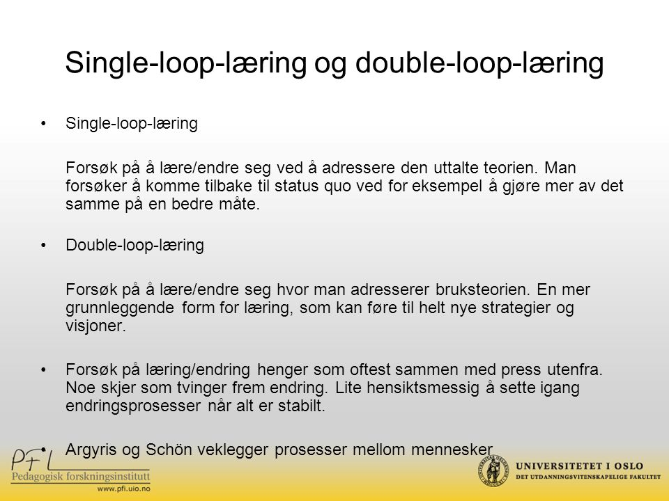 Single-loop-læring og double-loop-læring