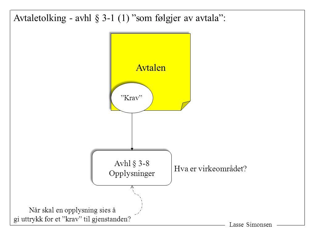 Avtaletolking - avhl § 3-1 (1) som følgjer av avtala :