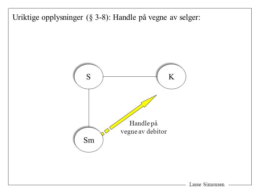 Uriktige opplysninger (§ 3-8): Handle på vegne av selger: