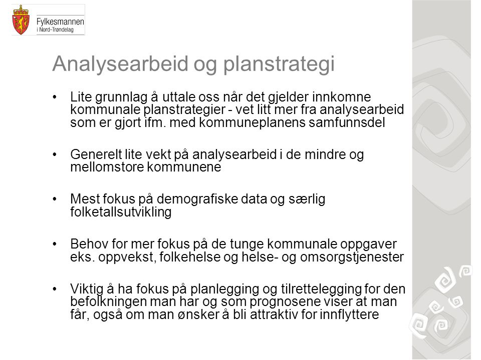 Analysearbeid og planstrategi