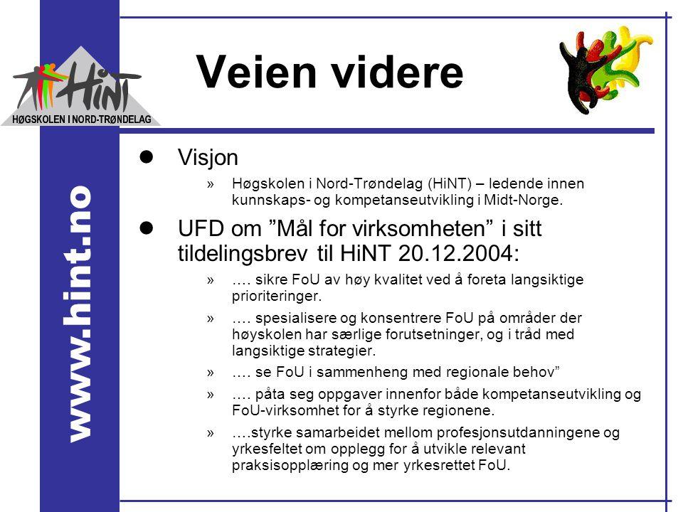 Veien videre Visjon. Høgskolen i Nord-Trøndelag (HiNT) – ledende innen kunnskaps- og kompetanseutvikling i Midt-Norge.