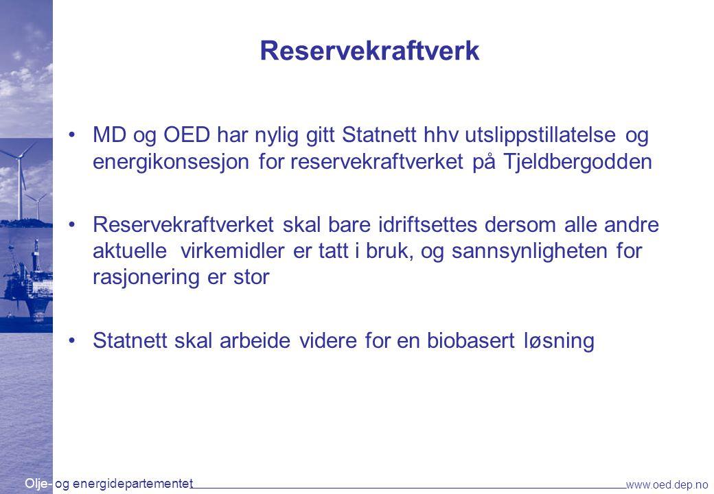 Reservekraftverk MD og OED har nylig gitt Statnett hhv utslippstillatelse og energikonsesjon for reservekraftverket på Tjeldbergodden.
