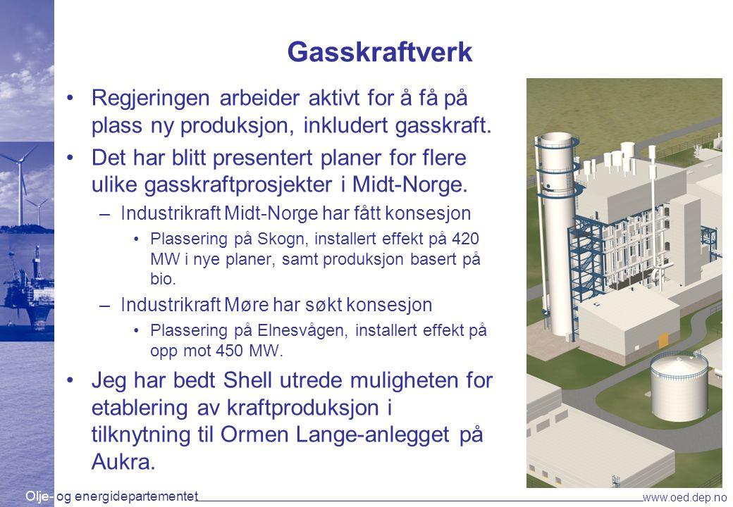 Gasskraftverk Regjeringen arbeider aktivt for å få på plass ny produksjon, inkludert gasskraft.