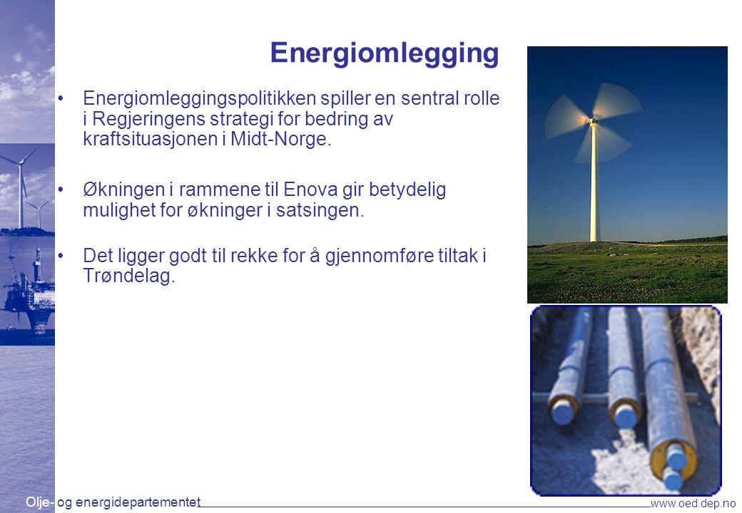Energiomlegging Energiomleggingspolitikken spiller en sentral rolle i Regjeringens strategi for bedring av kraftsituasjonen i Midt-Norge.