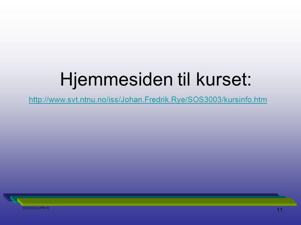 Hjemmesiden til kurset: