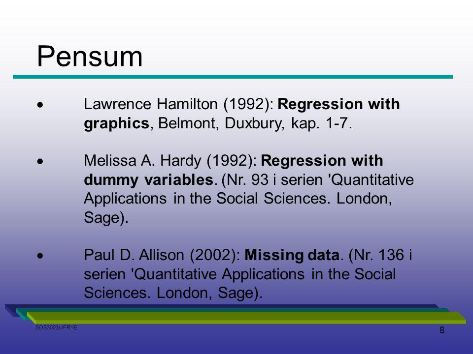 Pensum Lawrence Hamilton (1992): Regression with graphics, Belmont, Duxbury, kap. 1-7.