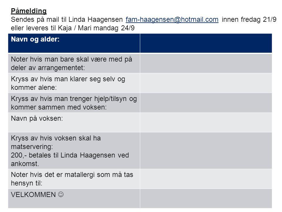 Påmelding Sendes på mail til Linda Haagensen fam-haagensen@hotmail.com innen fredag 21/9. eller leveres til Kaja / Mari mandag 24/9.