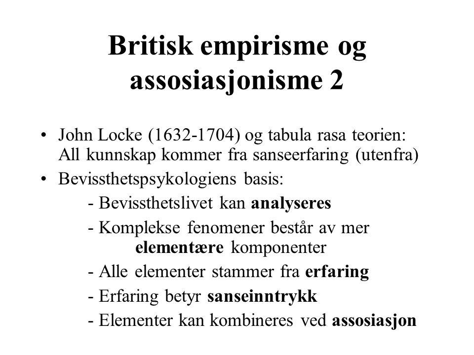 Britisk empirisme og assosiasjonisme 2