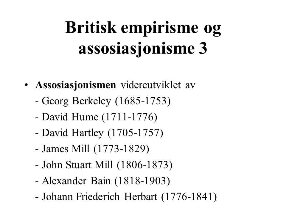 Britisk empirisme og assosiasjonisme 3