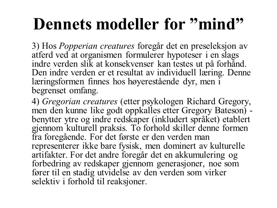 Dennets modeller for mind