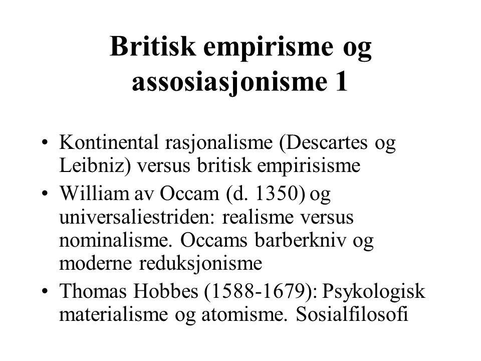 Britisk empirisme og assosiasjonisme 1